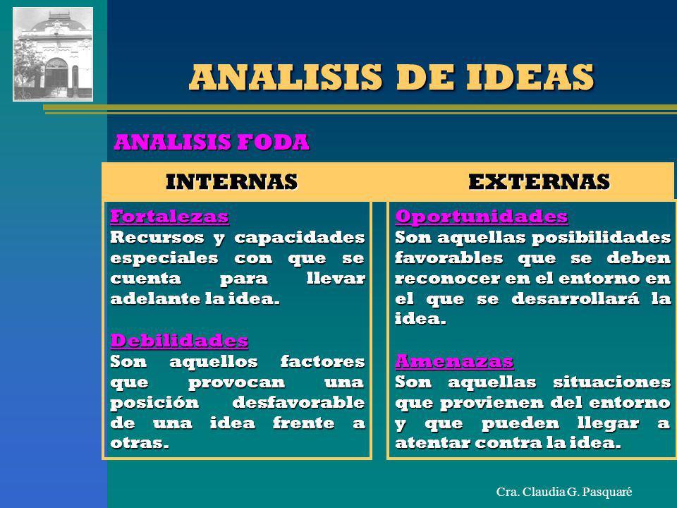 Cra. Claudia G. Pasquaré ANALISIS DE IDEAS INTERNAS EXTERNAS ANALISIS FODA Fortalezas Recursos y capacidades especiales con que se cuenta para llevar