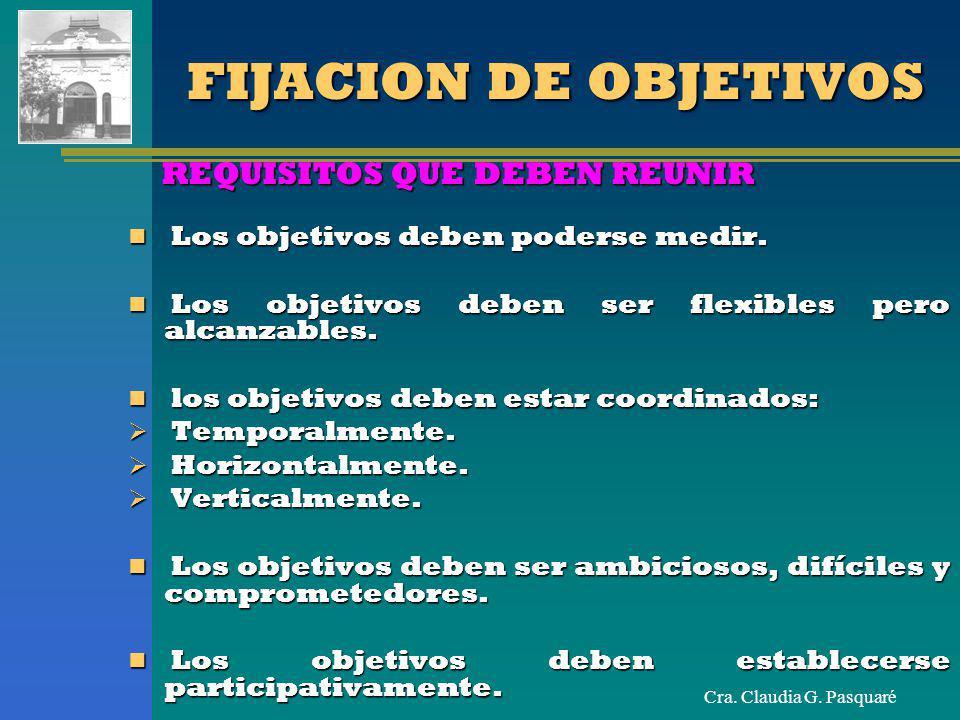 Cra. Claudia G. Pasquaré FIJACION DE OBJETIVOS REQUISITOS QUE DEBEN REUNIR Los objetivos deben poderse medir. Los objetivos deben poderse medir. Los o