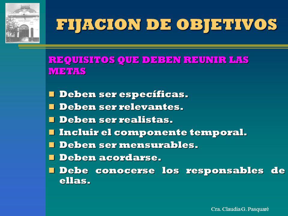 Cra. Claudia G. Pasquaré FIJACION DE OBJETIVOS REQUISITOS QUE DEBEN REUNIR LAS METAS Deben ser específicas. Deben ser específicas. Deben ser relevante