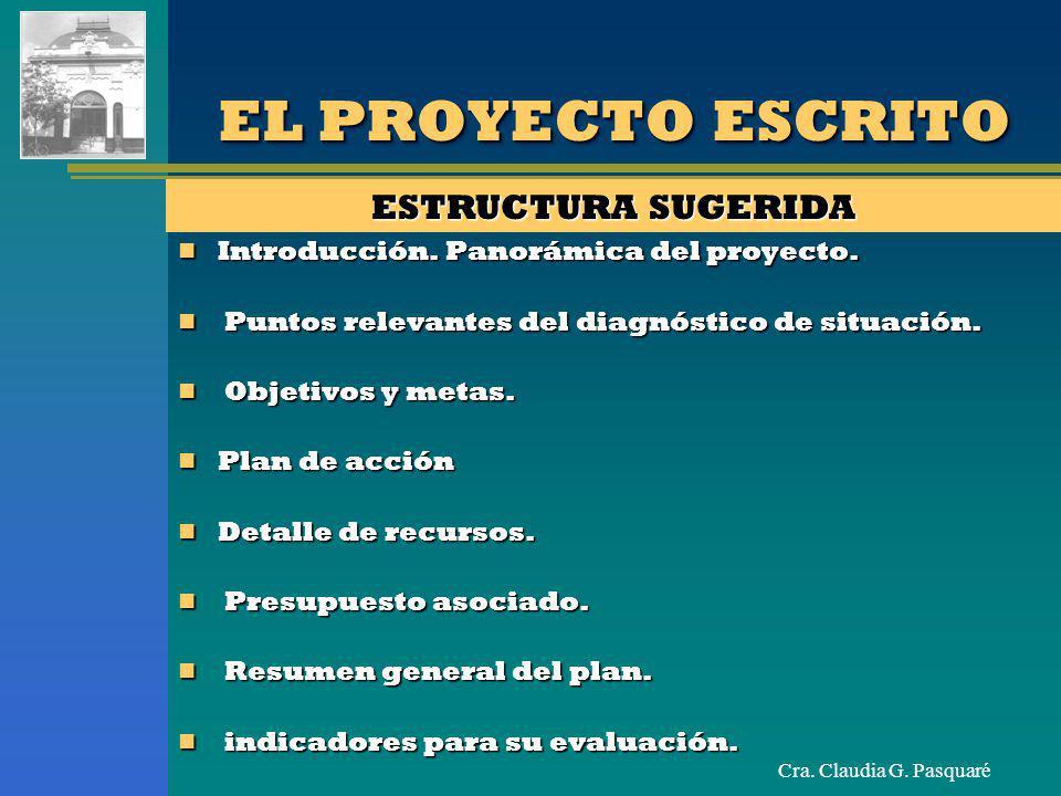 Cra. Claudia G. Pasquaré EL PROYECTO ESCRITO ESTRUCTURA SUGERIDA Introducción. Panorámica del proyecto. Introducción. Panorámica del proyecto. Puntos
