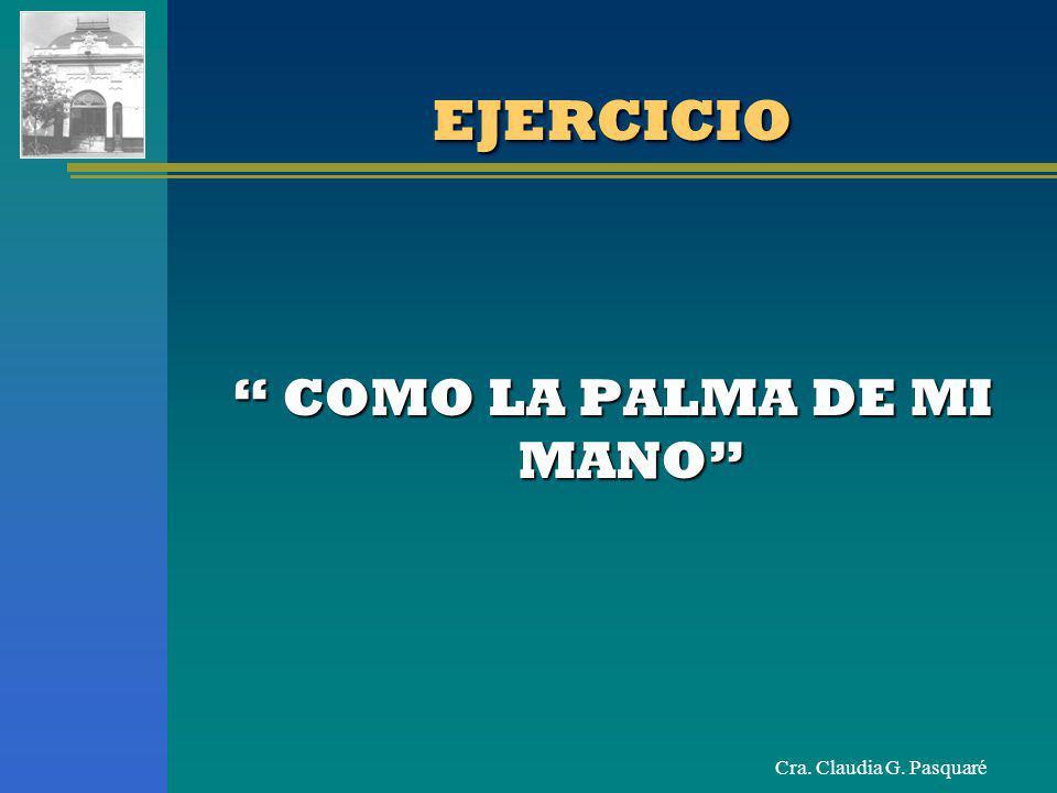 Cra. Claudia G. Pasquaré EJERCICIOEJERCICIO COMO LA PALMA DE MI MANO COMO LA PALMA DE MI MANO