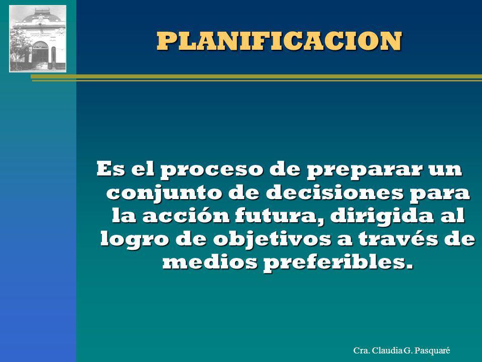 Cra. Claudia G. PasquaréPLANIFICACIONPLANIFICACION Es el proceso de preparar un conjunto de decisiones para la acción futura, dirigida al logro de obj