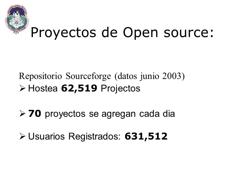 Proyectos de Open source: Repositorio Sourceforge (datos junio 2003) Hostea 62,519 Projectos 70 proyectos se agregan cada dia Usuarios Registrados: 631,512