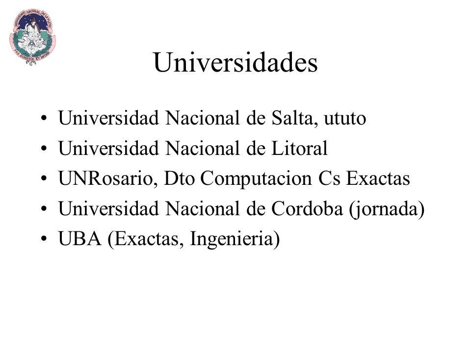Universidades Universidad Nacional de Salta, ututo Universidad Nacional de Litoral UNRosario, Dto Computacion Cs Exactas Universidad Nacional de Cordoba (jornada) UBA (Exactas, Ingenieria)