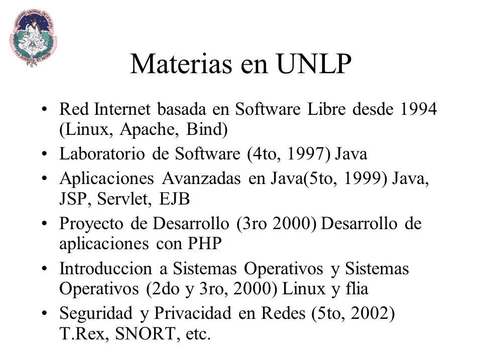 Materias en UNLP Red Internet basada en Software Libre desde 1994 (Linux, Apache, Bind) Laboratorio de Software (4to, 1997) Java Aplicaciones Avanzadas en Java(5to, 1999) Java, JSP, Servlet, EJB Proyecto de Desarrollo (3ro 2000) Desarrollo de aplicaciones con PHP Introduccion a Sistemas Operativos y Sistemas Operativos (2do y 3ro, 2000) Linux y flia Seguridad y Privacidad en Redes (5to, 2002) T.Rex, SNORT, etc.