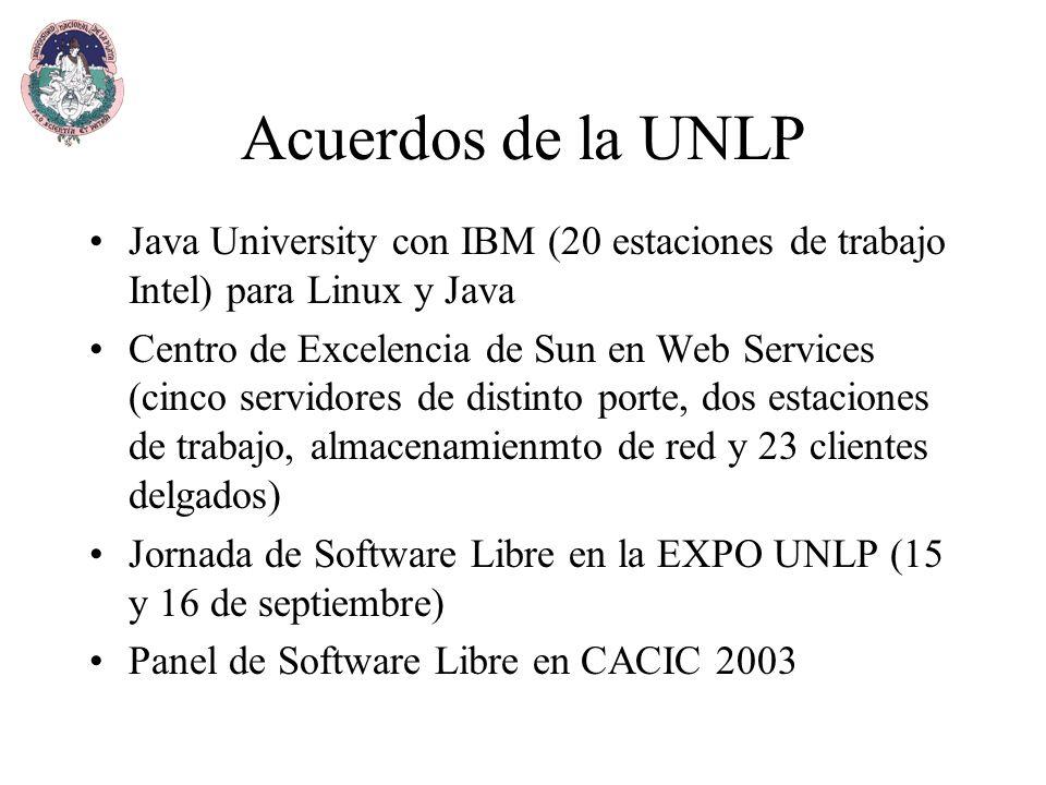 Acuerdos de la UNLP Java University con IBM (20 estaciones de trabajo Intel) para Linux y Java Centro de Excelencia de Sun en Web Services (cinco servidores de distinto porte, dos estaciones de trabajo, almacenamienmto de red y 23 clientes delgados) Jornada de Software Libre en la EXPO UNLP (15 y 16 de septiembre) Panel de Software Libre en CACIC 2003