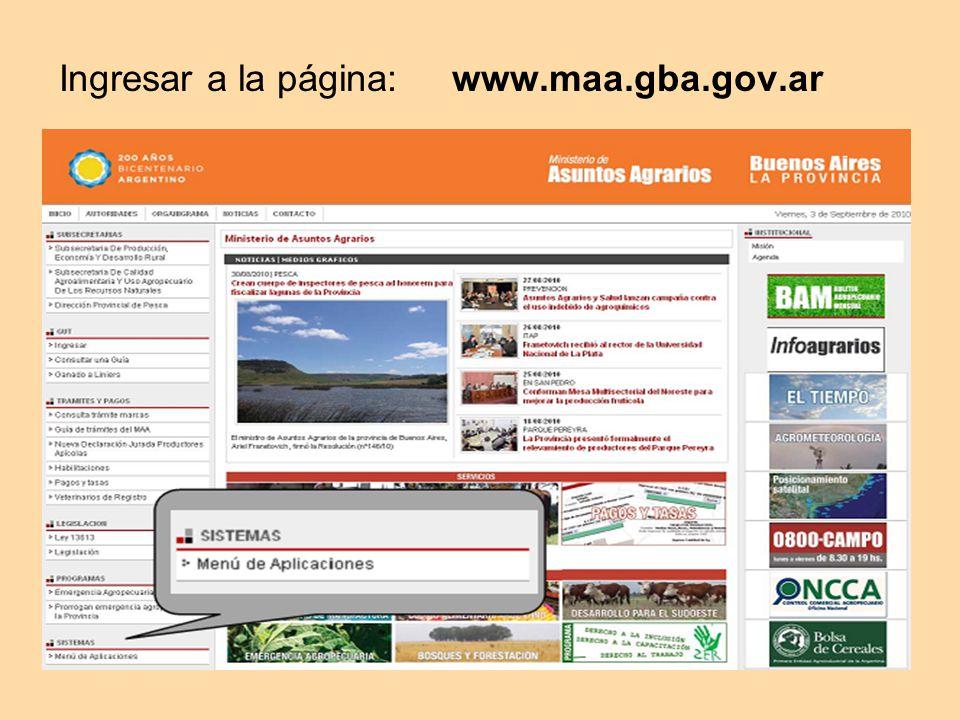 Ingresar a la página: www.maa.gba.gov.ar