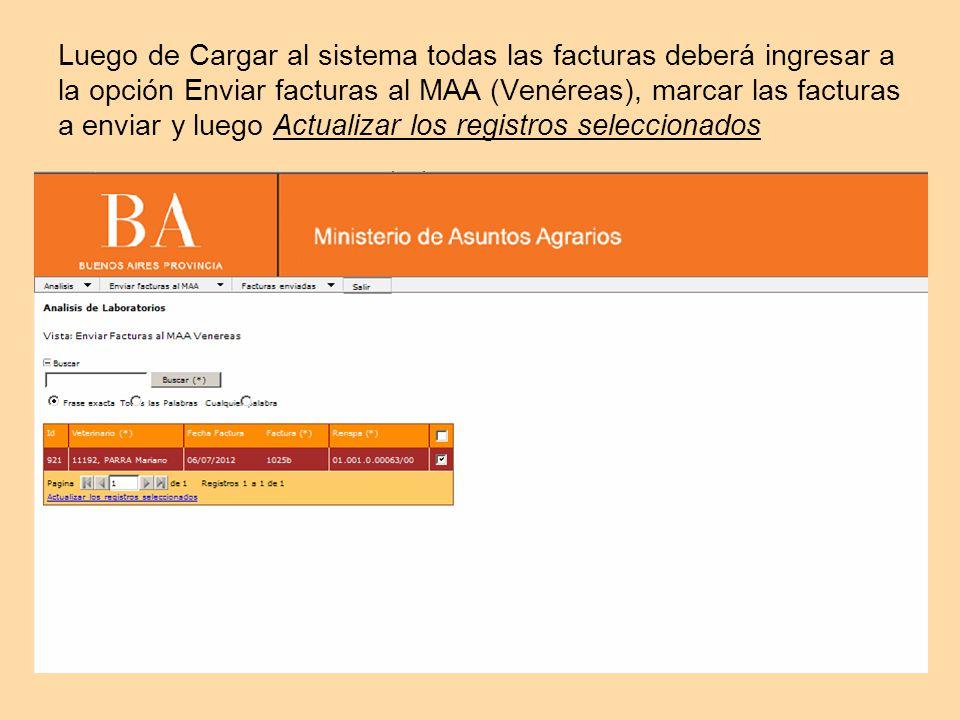 Luego de Cargar al sistema todas las facturas deberá ingresar a la opción Enviar facturas al MAA (Venéreas), marcar las facturas a enviar y luego Actualizar los registros seleccionados