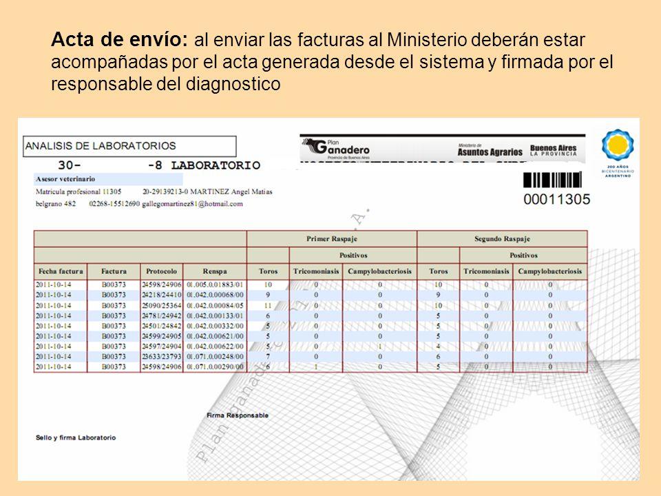 Acta de envío: al enviar las facturas al Ministerio deberán estar acompañadas por el acta generada desde el sistema y firmada por el responsable del diagnostico