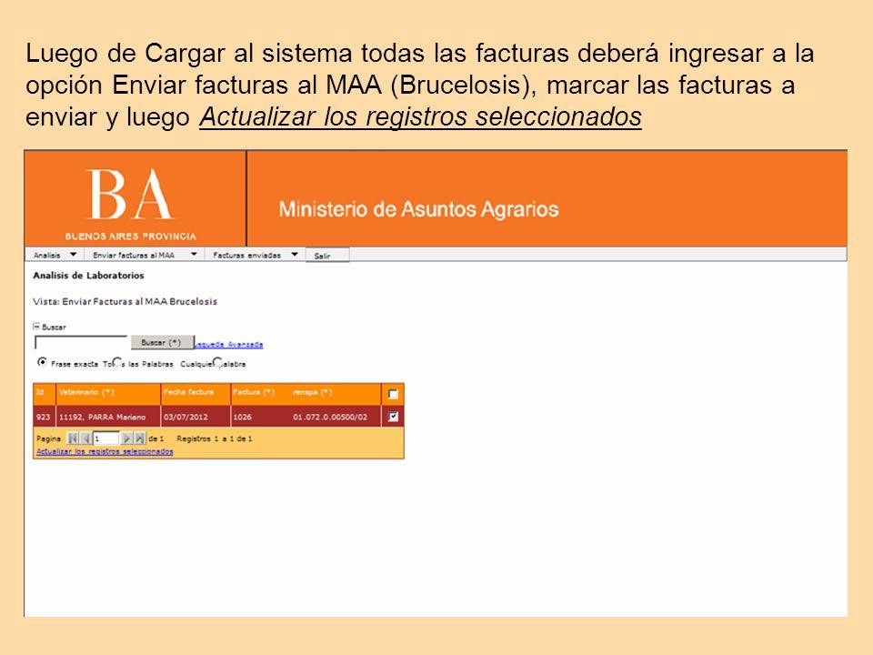 Luego de Cargar al sistema todas las facturas deberá ingresar a la opción Enviar facturas al MAA (Brucelosis), marcar las facturas a enviar y luego Actualizar los registros seleccionados