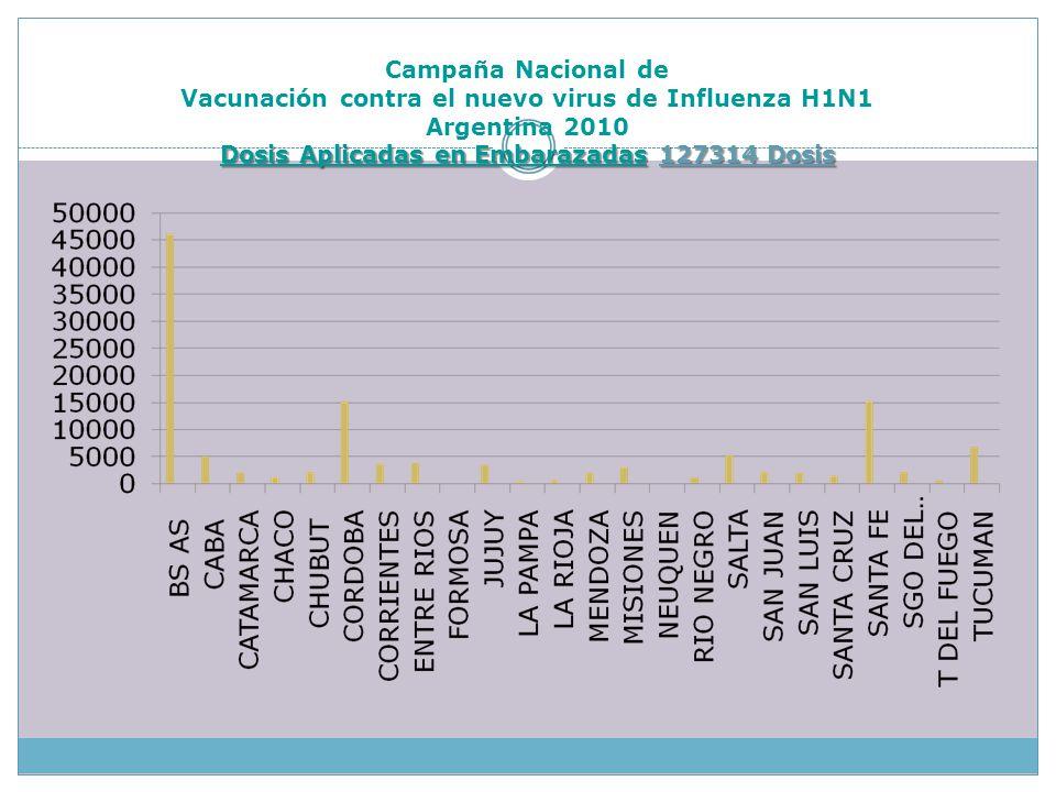 Dosis Aplicadas en Embarazadas127314 Dosis Campaña Nacional de Vacunación contra el nuevo virus de Influenza H1N1 Argentina 2010 Dosis Aplicadas en Embarazadas 127314 Dosis