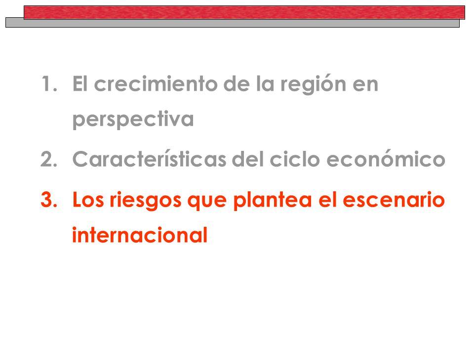 1.El crecimiento de la región en perspectiva 2.Características del ciclo económico 3.Los riesgos que plantea el escenario internacional