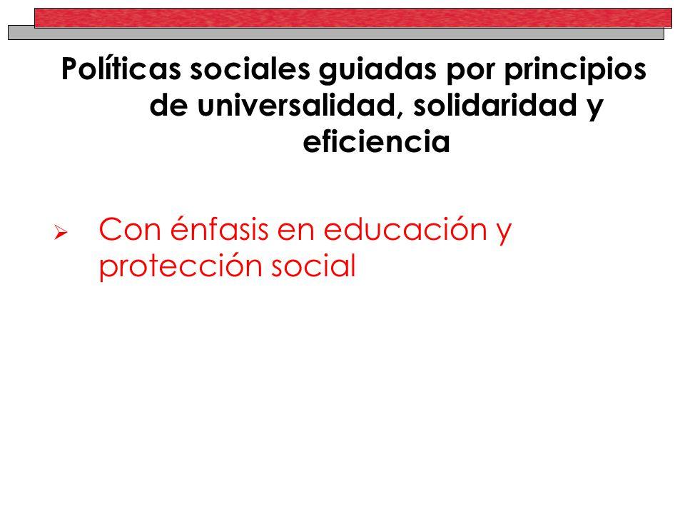 Políticas sociales guiadas por principios de universalidad, solidaridad y eficiencia Con énfasis en educación y protección social