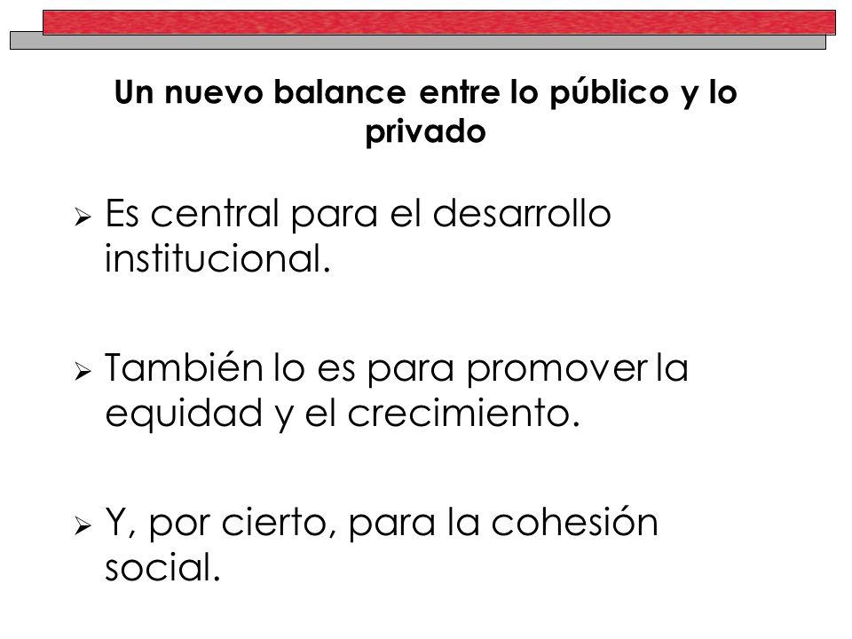 Un nuevo balance entre lo público y lo privado Es central para el desarrollo institucional.