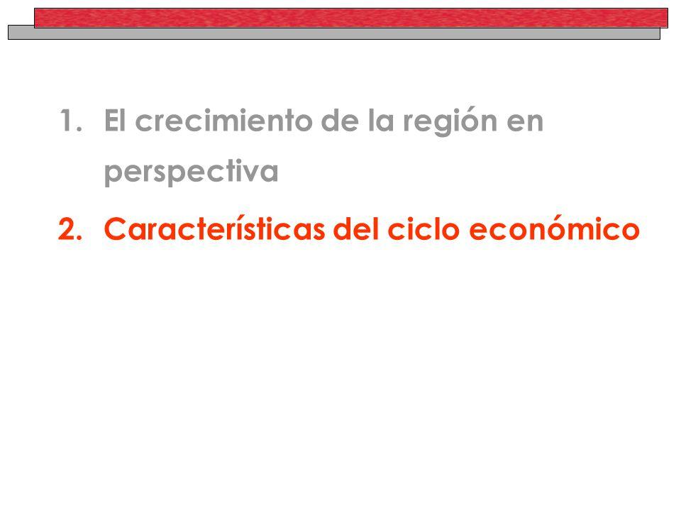 1.El crecimiento de la región en perspectiva 2.Características del ciclo económico