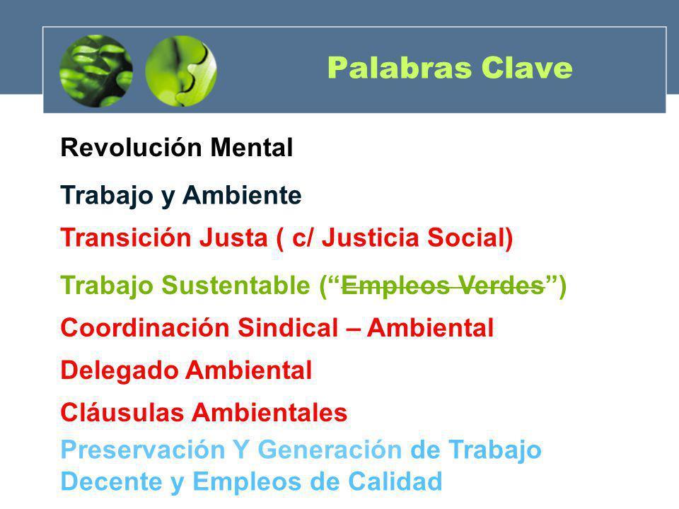 Palabras Clave Revolución Mental Trabajo y Ambiente Transición Justa ( c/ Justicia Social) Trabajo Sustentable (Empleos Verdes) Coordinación Sindical