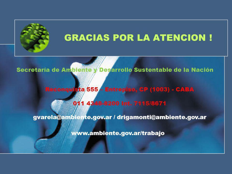 GRACIAS POR LA ATENCION ! Reconquista 555 – Entrepiso, CP (1003) - CABA 011 4348-8200 Int. 7115/8671 gvarela@ambiente.gov.ar / drigamonti@ambiente.gov