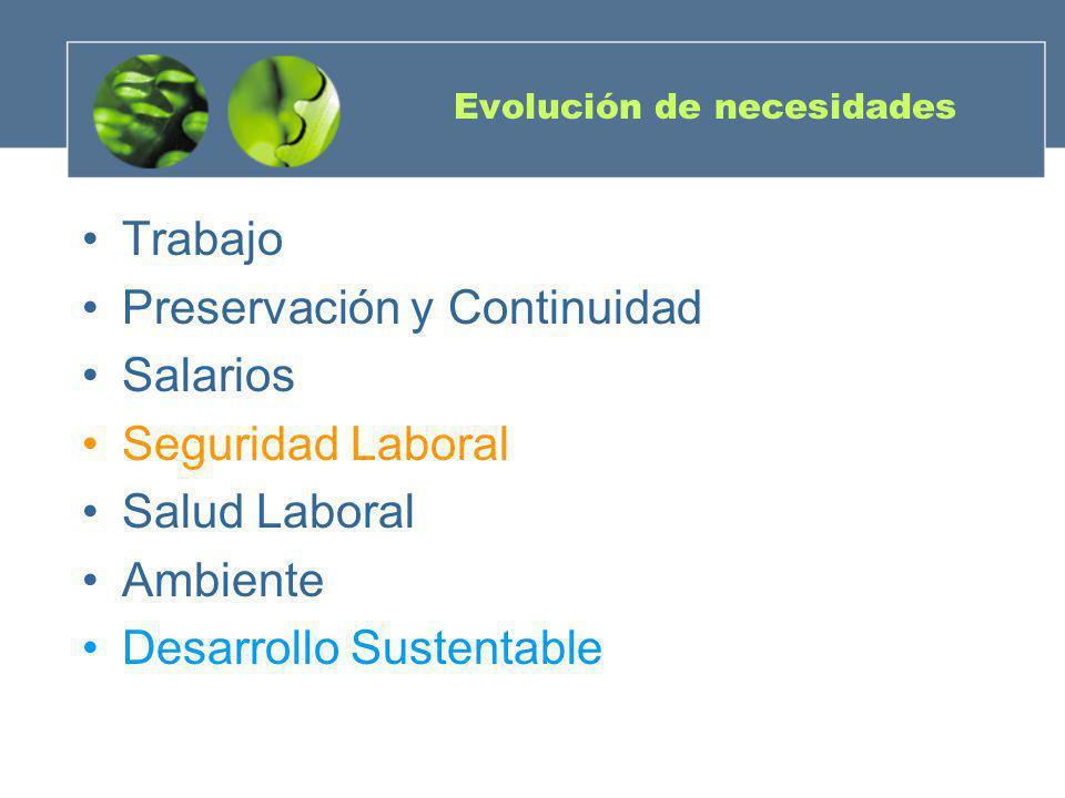 Evolución de necesidades Trabajo Preservación y Continuidad Salarios Seguridad Laboral Salud Laboral Ambiente Desarrollo Sustentable