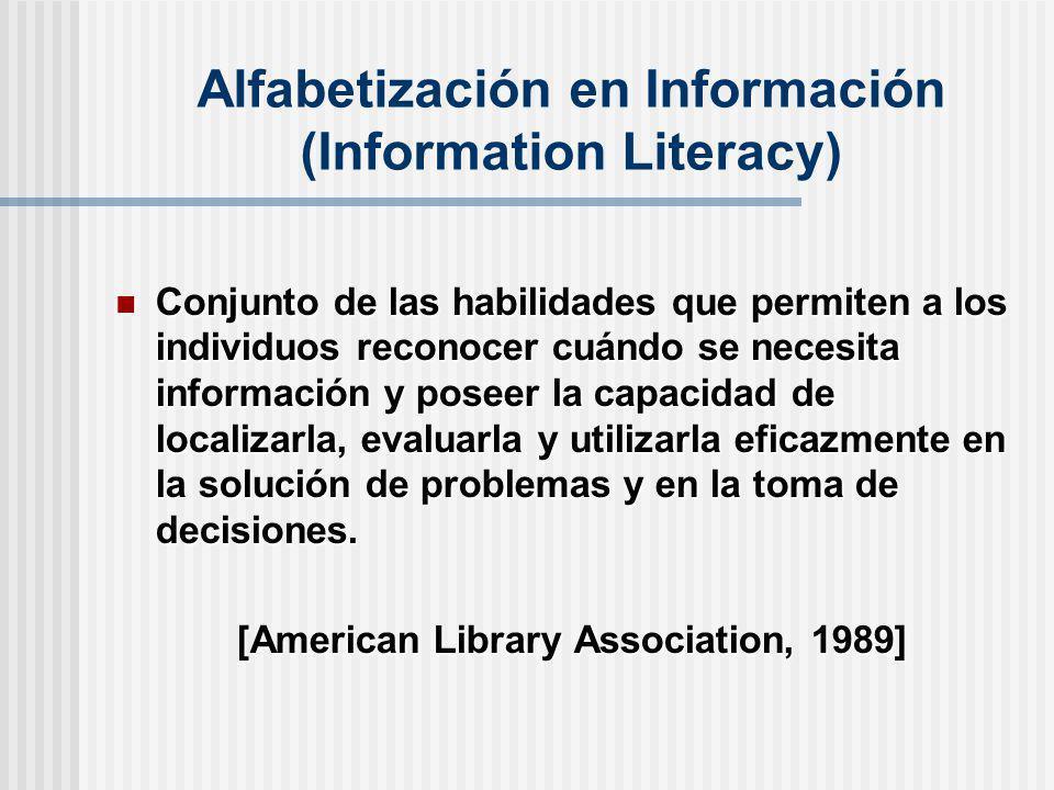 Conjunto de las habilidades que permiten a los individuos reconocer cuándo se necesita información y poseer la capacidad de localizarla, evaluarla y u