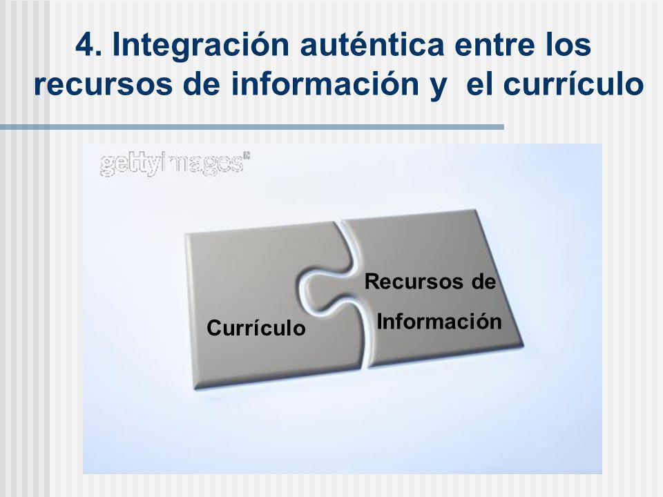 4. Integración auténtica entre los recursos de información y el currículo Currículo Recursos de Información