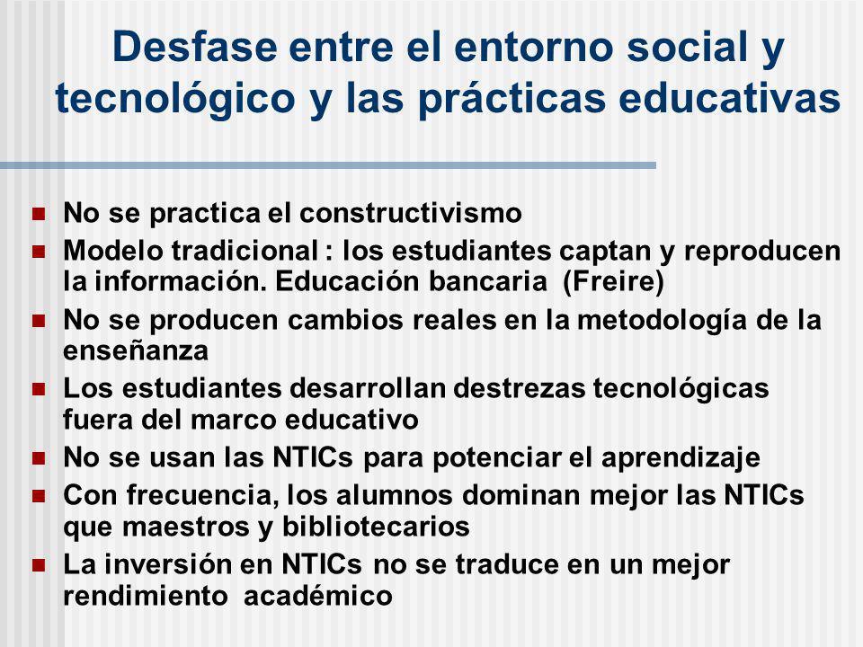Desfase entre el entorno social y tecnológico y las prácticas educativas No se practica el constructivismo Modelo tradicional : los estudiantes captan