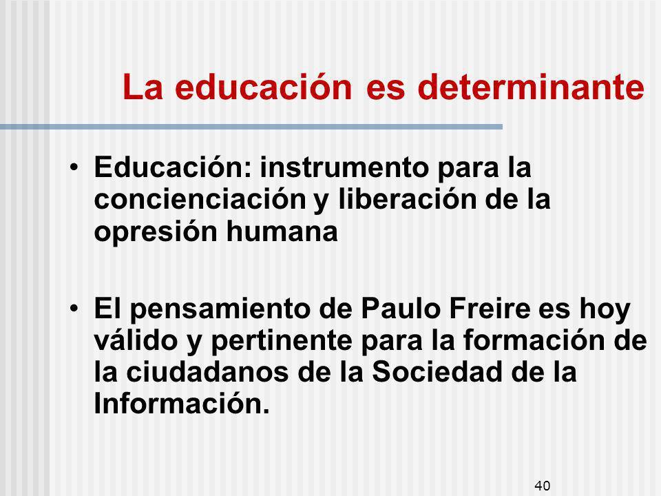 40 La educación es determinante Educación: instrumento para la concienciación y liberación de la opresión humana El pensamiento de Paulo Freire es hoy