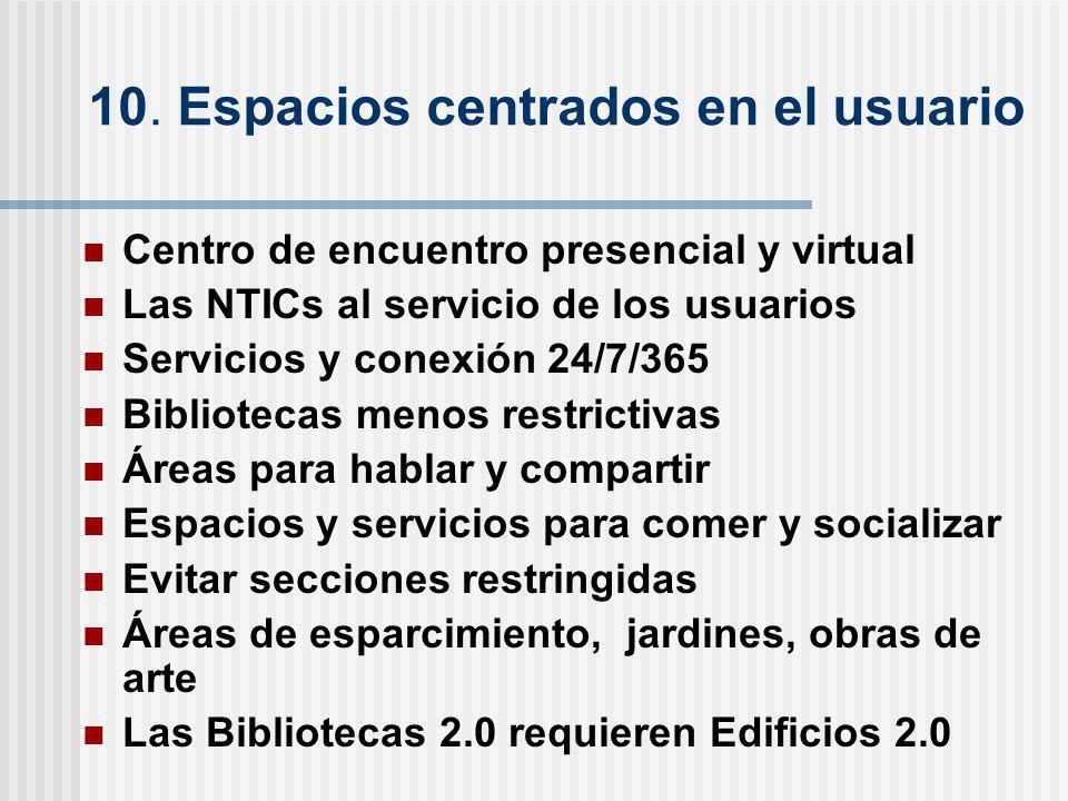 10. Espacios centrados en el usuario Centro de encuentro presencial y virtual Las NTICs al servicio de los usuarios Servicios y conexión 24/7/365 Bibl