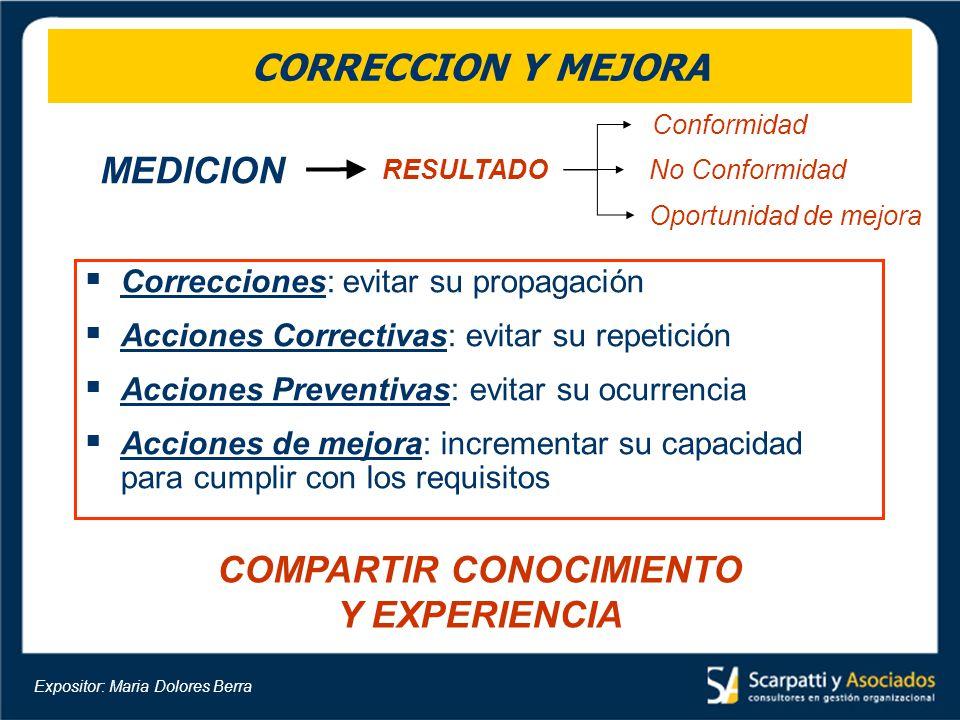 CORRECCION Y MEJORA Correcciones: evitar su propagación Acciones Correctivas: evitar su repetición Acciones Preventivas: evitar su ocurrencia Acciones