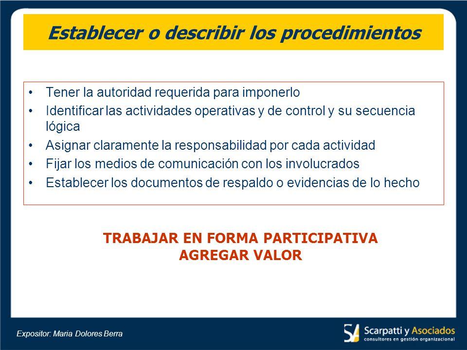 Establecer o describir los procedimientos Tener la autoridad requerida para imponerlo Identificar las actividades operativas y de control y su secuenc