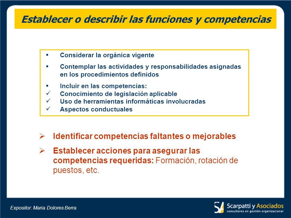 Establecer o describir las funciones y competencias Considerar la orgánica vigente Contemplar las actividades y responsabilidades asignadas en los pro