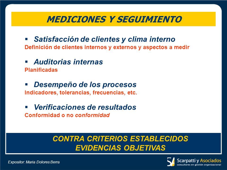 MEDICIONES Y SEGUIMIENTO Satisfacción de clientes y clima interno Definición de clientes internos y externos y aspectos a medir Auditorias internas Pl