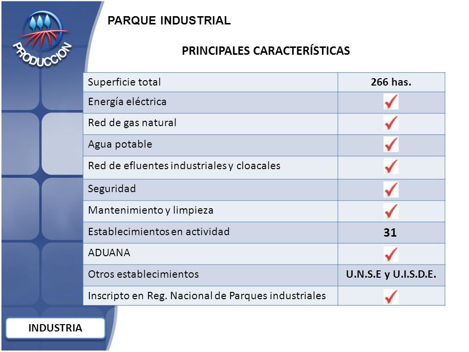 PRINCIPALES CARACTERÍSTICAS Superficie total266 has.