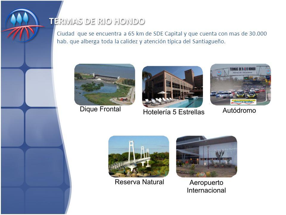 TERMAS DE RIO HONDO Ciudad que se encuentra a 65 km de SDE Capital y que cuenta con mas de 30.000 hab.