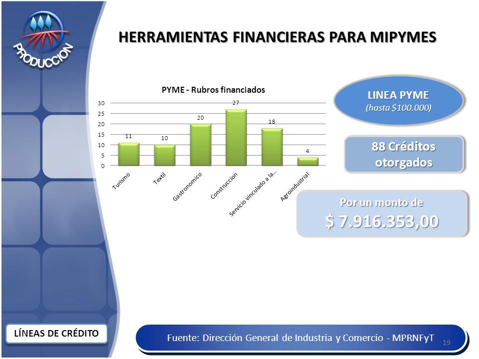 Fuente: Dirección General de Industria y Comercio - MPRNFyT HERRAMIENTAS FINANCIERAS PARA MIPYMES LINEA PYME (hasta $100.000) LINEA PYME (hasta $100.000) 88 Créditos otorgados Por un monto de $ 7.916.353,00 Por un monto de $ 7.916.353,00 19 LÍNEAS DE CRÉDITO