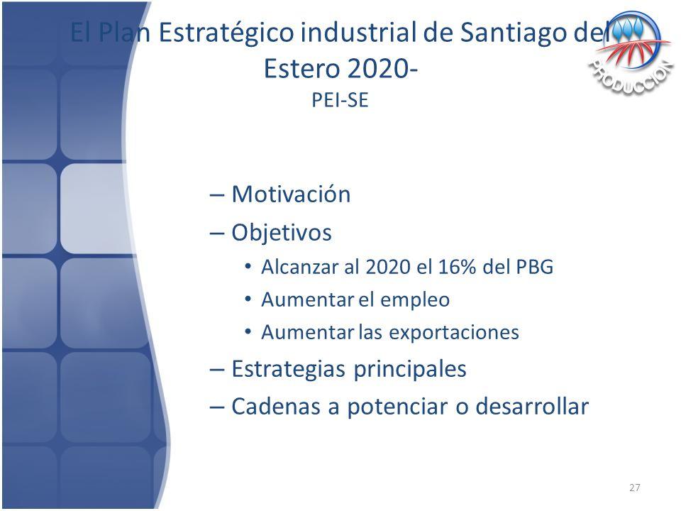 El Plan Estratégico industrial de Santiago del Estero 2020- PEI-SE – Motivación – Objetivos Alcanzar al 2020 el 16% del PBG Aumentar el empleo Aumentar las exportaciones – Estrategias principales – Cadenas a potenciar o desarrollar 27