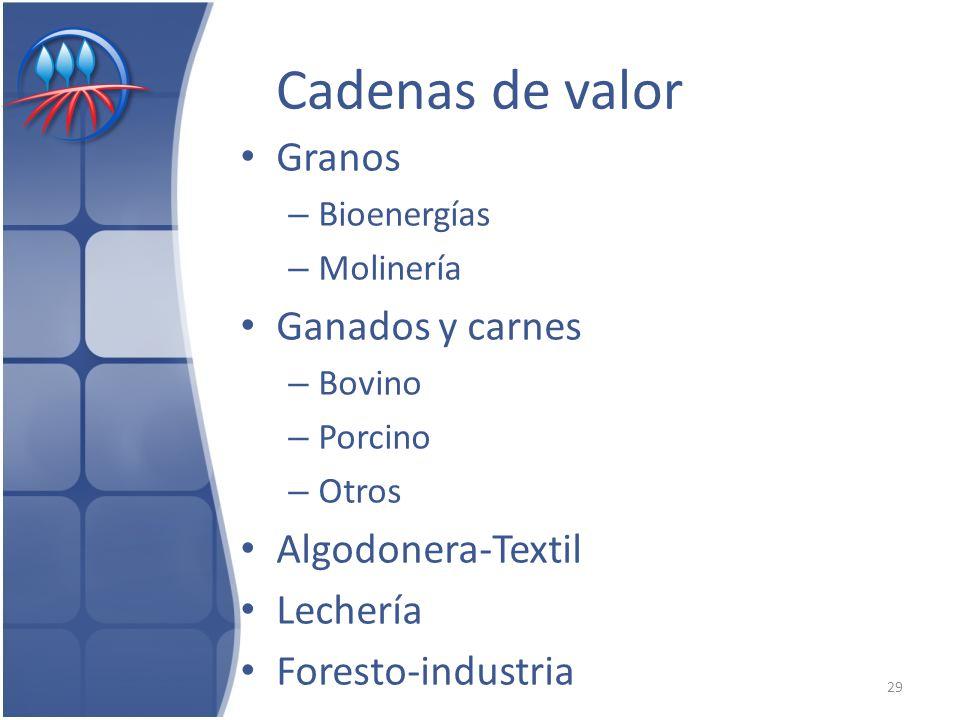 Cadenas de valor Granos – Bioenergías – Molinería Ganados y carnes – Bovino – Porcino – Otros Algodonera-Textil Lechería Foresto-industria 29