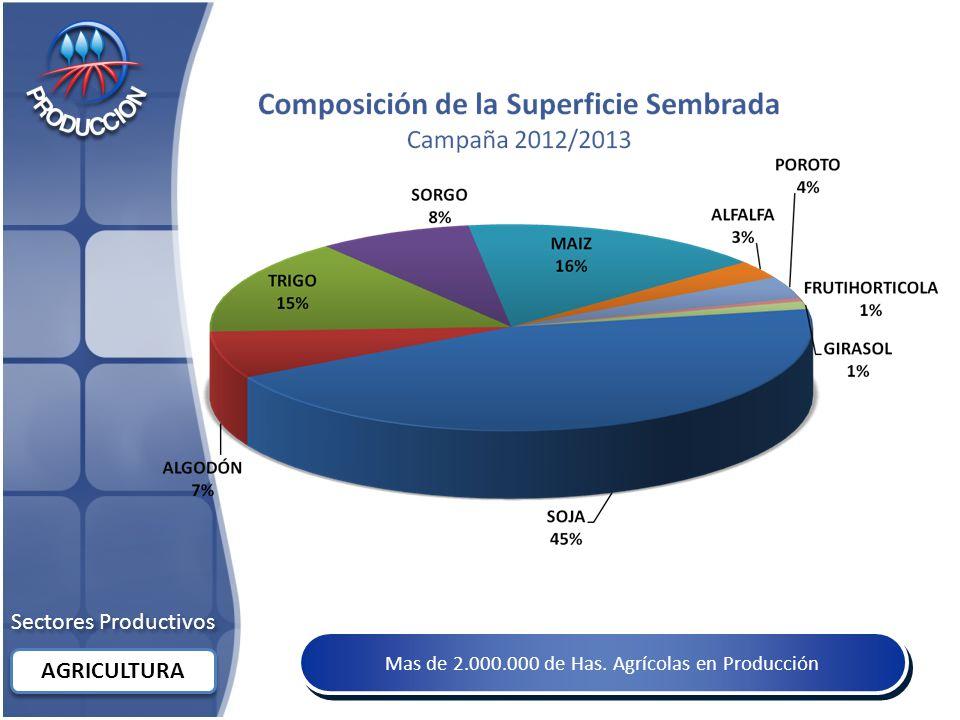 Sectores Productivos AGRICULTURA Mas de 2.000.000 de Has. Agrícolas en Producción