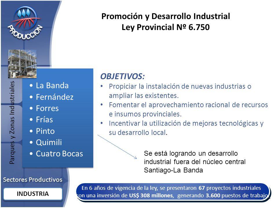 Sectores Productivos INDUSTRIA Promoción y Desarrollo Industrial Ley Provincial Nº 6.750 En 6 años de vigencia de la ley, se presentaron 67 proyectos industriales con una inversión de US$ 308 millones, generando 3.600 puestos de trabajo.