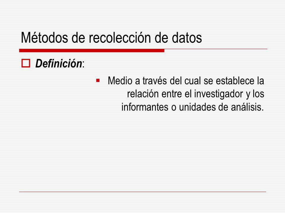 Métodos de recolección de datos Definición : Medio a través del cual se establece la relación entre el investigador y los informantes o unidades de an