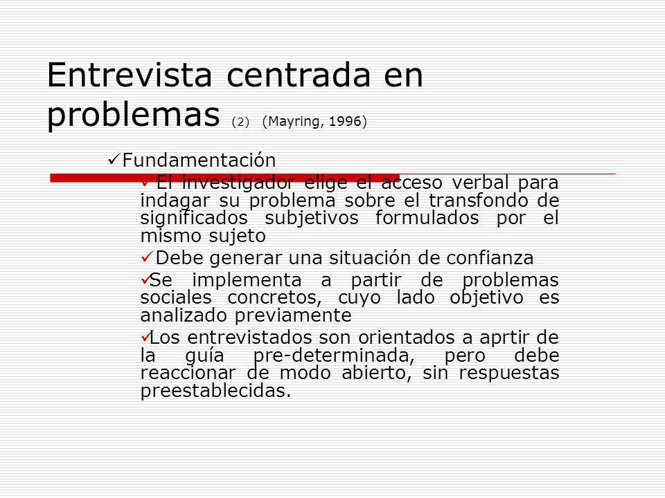 Entrevista centrada en problemas (2) (Mayring, 1996) Fundamentación El investigador elige el acceso verbal para indagar su problema sobre el transfond