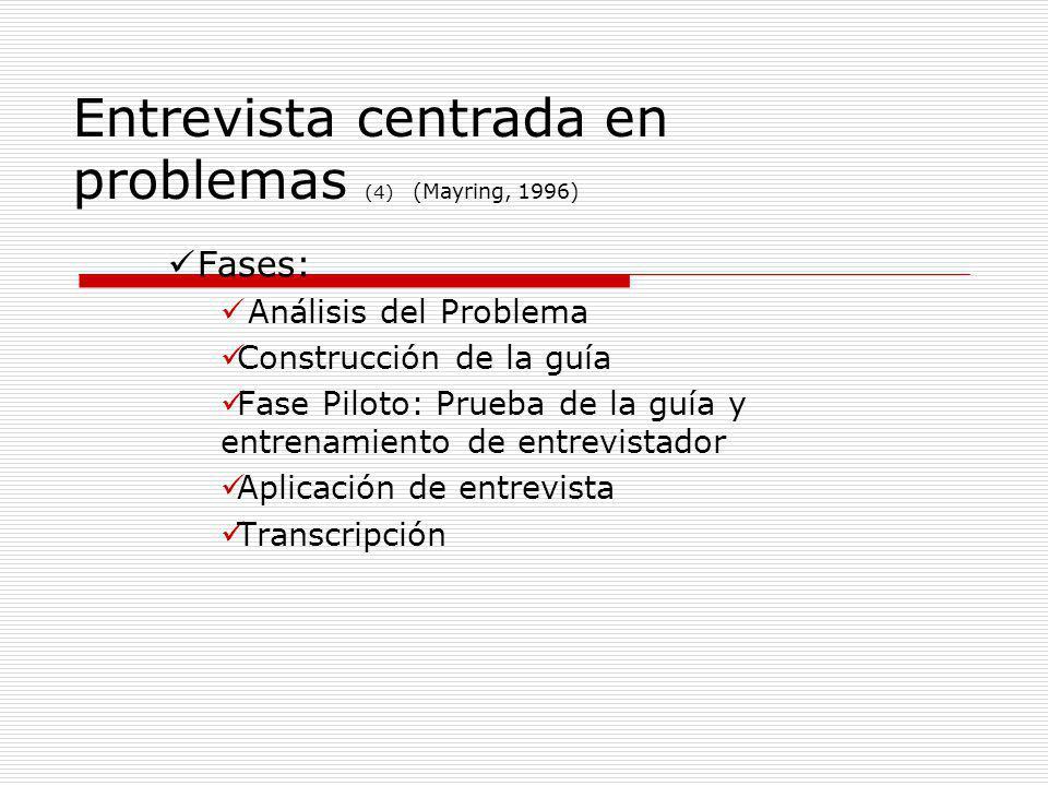 Entrevista centrada en problemas (4) (Mayring, 1996) Fases: Análisis del Problema Construcción de la guía Fase Piloto: Prueba de la guía y entrenamien