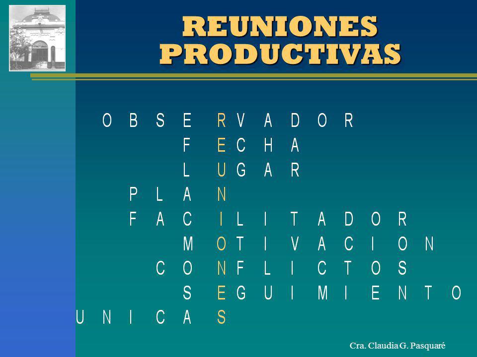 Cra. Claudia G. Pasquaré REUNIONES PRODUCTIVAS