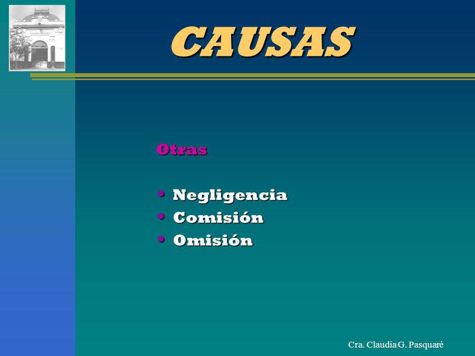 Cra. Claudia G. Pasquaré CAUSAS Otras Negligencia Negligencia Comisión Comisión Omisión Omisión