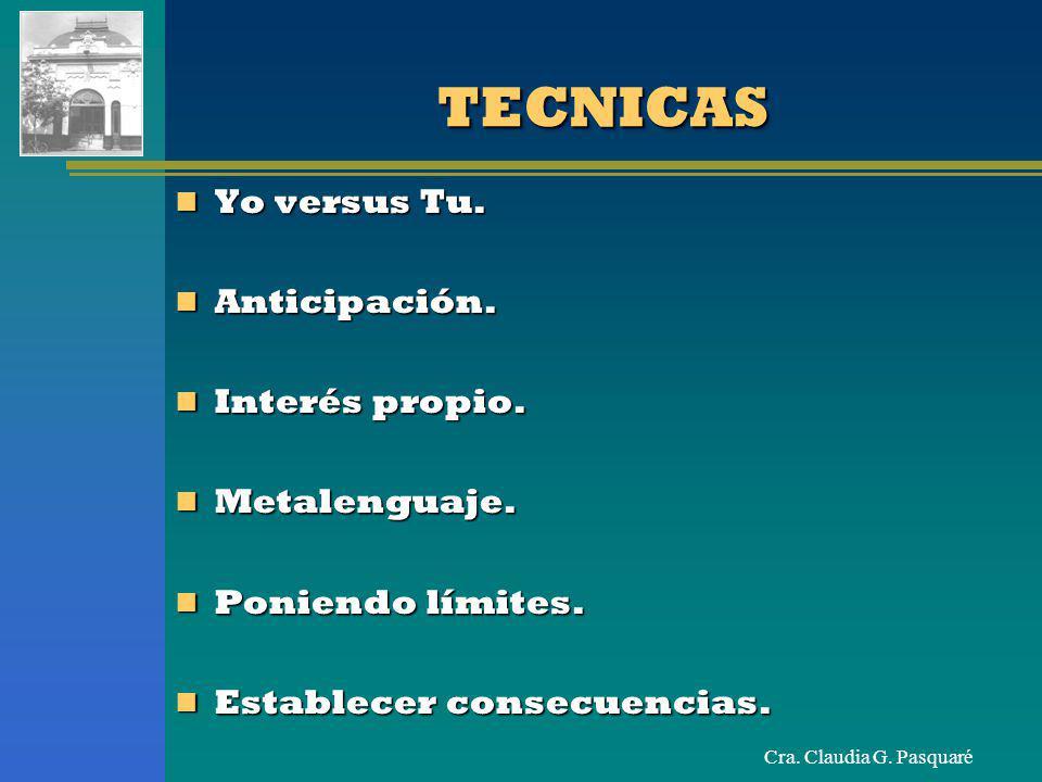 Cra.Claudia G. PasquaréTECNICASTECNICAS Yo versus Tu.