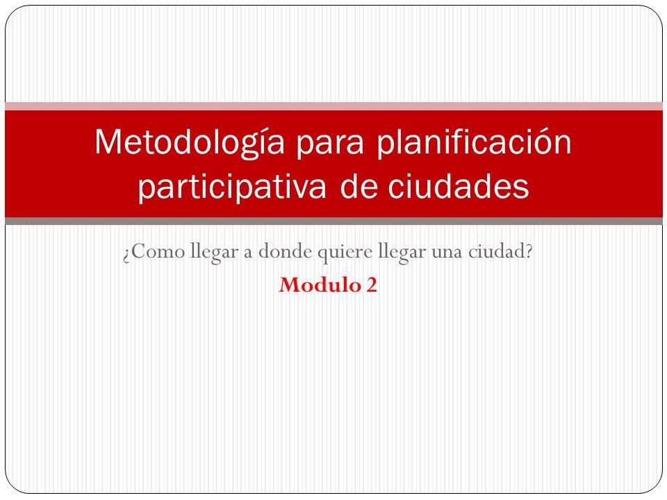 ¿Como llegar a donde quiere llegar una ciudad? Modulo 2 Metodología para planificación participativa de ciudades