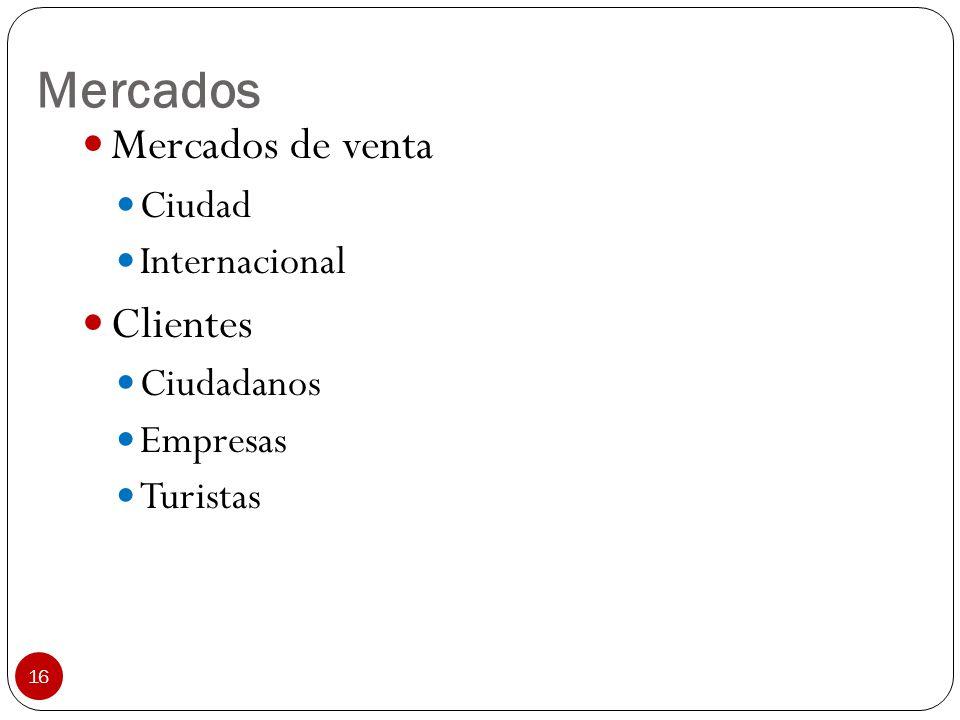 16 Mercados Mercados de venta Ciudad Internacional Clientes Ciudadanos Empresas Turistas