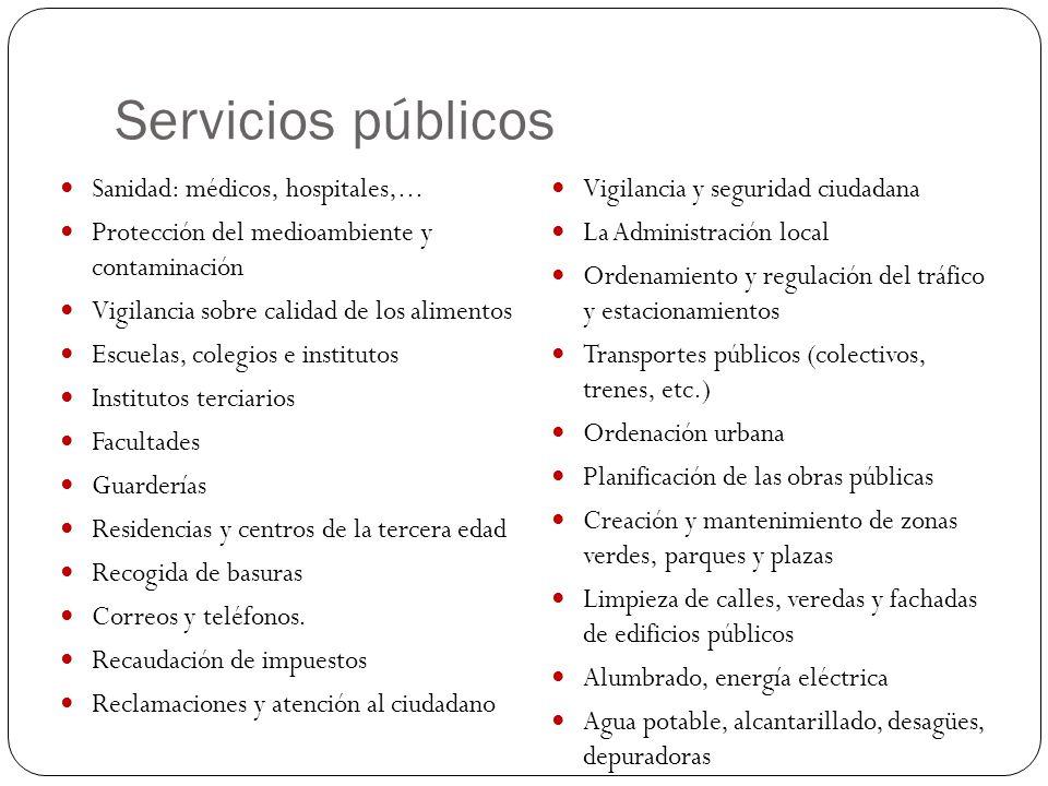 Servicios públicos Sanidad: médicos, hospitales,... Protección del medioambiente y contaminación Vigilancia sobre calidad de los alimentos Escuelas, c