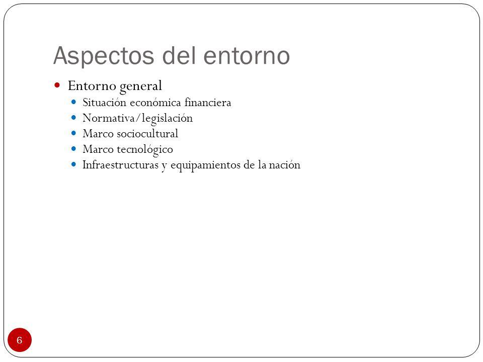 6 Aspectos del entorno Entorno general Situación económica financiera Normativa/legislación Marco sociocultural Marco tecnológico Infraestructuras y e