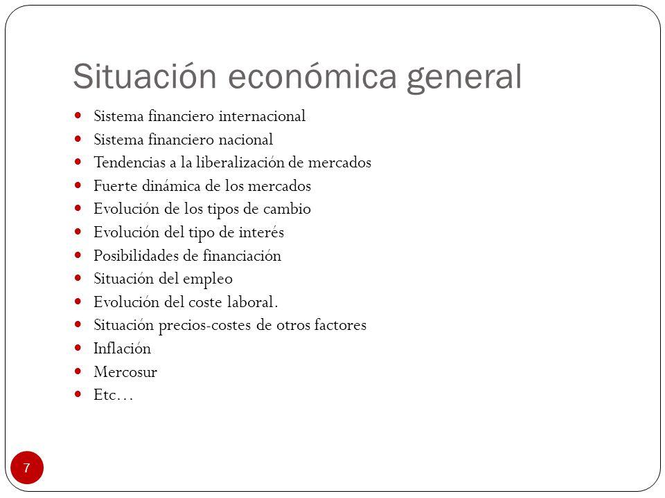 7 Situación económica general Sistema financiero internacional Sistema financiero nacional Tendencias a la liberalización de mercados Fuerte dinámica