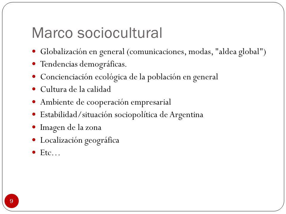 9 Marco sociocultural Globalización en general (comunicaciones, modas,